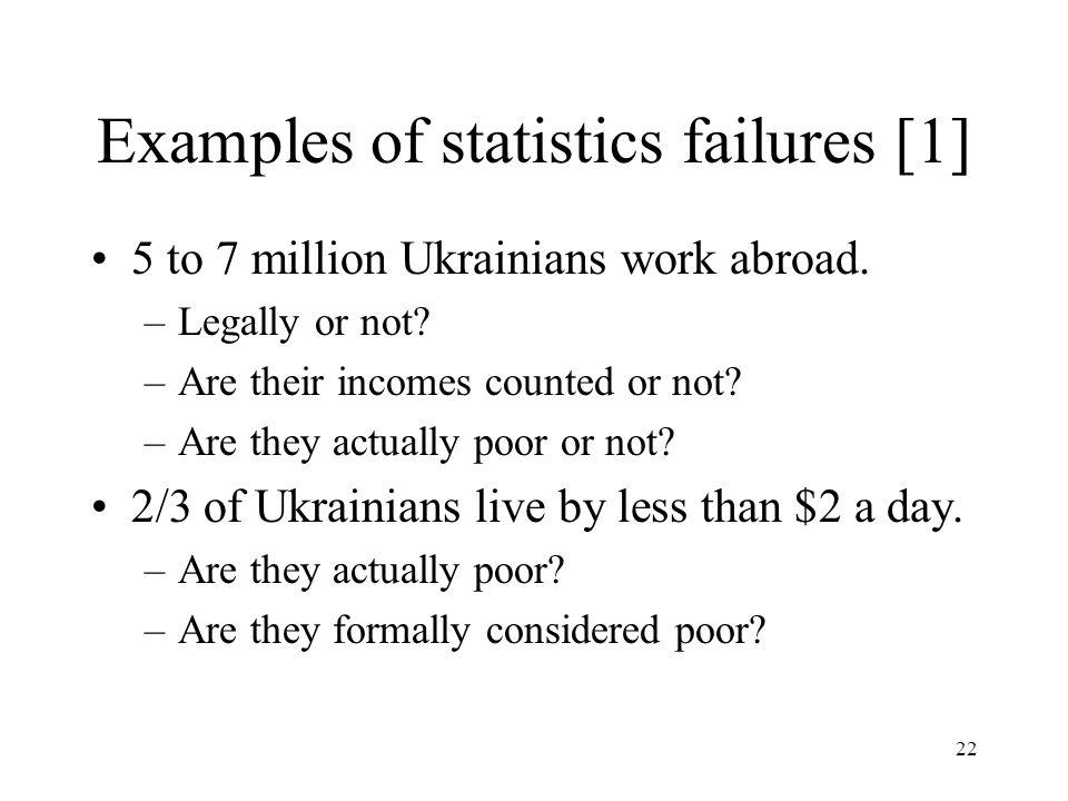 Examples of statistics failures [1]
